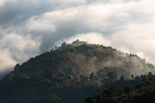 Pokhara, Mountain, Clouds, Sky, Hills, Fog, Trees