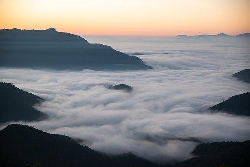 Pokhara, Mountains, Clouds, Sunrise, Dawn, Sky, Peak