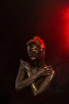 Smoke, Body Painting, Black Skin, Portrait, Girl, Gold