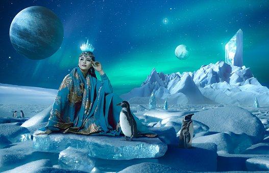 Iceberg, Penguin, Queen, Fantasy, Ice, Polar, Cold