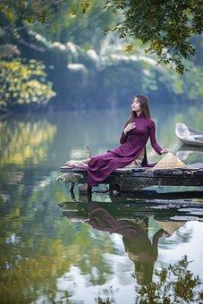 Ao Dai, Fashion, Lake, Jetty, Woman, Vietnamese