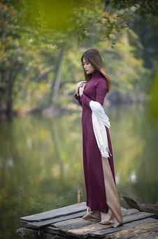 Ao Dai, Fashion, Jetty, Lake, Woman, Vietnamese
