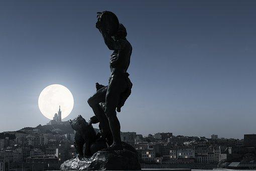 Statue, City, Marseille, Moon, Night, France, Full Moon