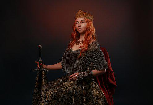Queen, Sword, Middle Ages, Portrait, Red Hair