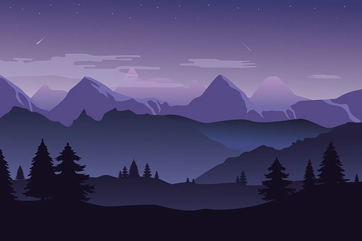 Mountains, Landscape, Night, Silhouette, Forest, Trees