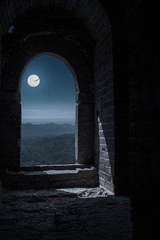 Fortress, Window, Moon, Night, Moonlight, Sky, Mountain