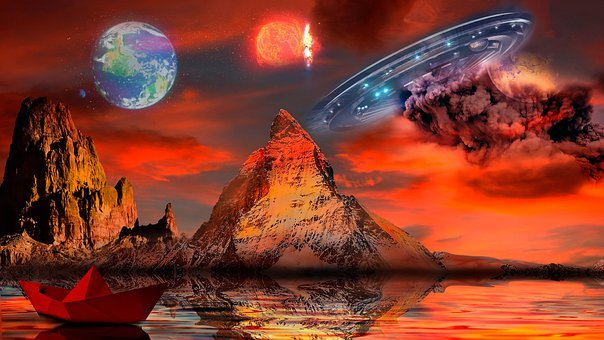 Planets, Boat, Mountains, Fantasy, River, Lake, Water