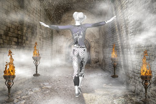 Fog, Woman, Tunnel, Composing, Candles, Light, Poor