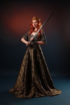 Queen, Sword, Middle Ages, Portrait, Blade, Red Hair