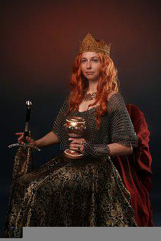 Queen, Sword, Portrait, Power, Middle Ages, Red Hair