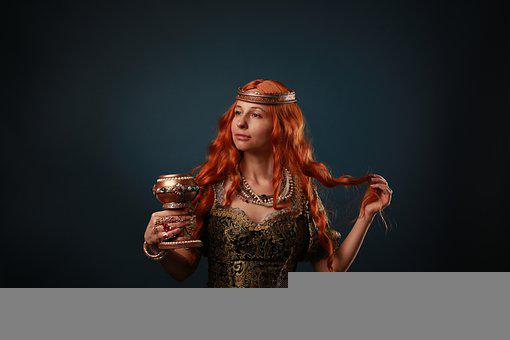 Queen, Cup, Portrait, Red Hair, Middle Ages, Historical