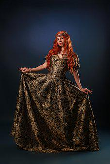 Woman, Queen, Middle Ages, Portrait, Red Hair