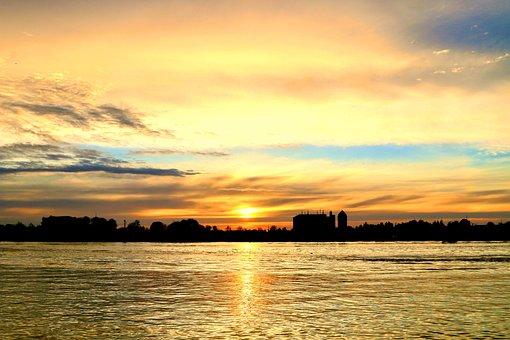 Sunset, Town, River, Silhouette, Panorama, Sun