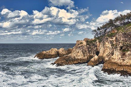 Cliff, Coast, Sea, Waves, Horizon, Sky, Clouds