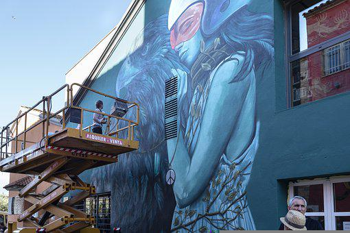 Graffiti, Creating, Working, Crane, Wall, People, Rural