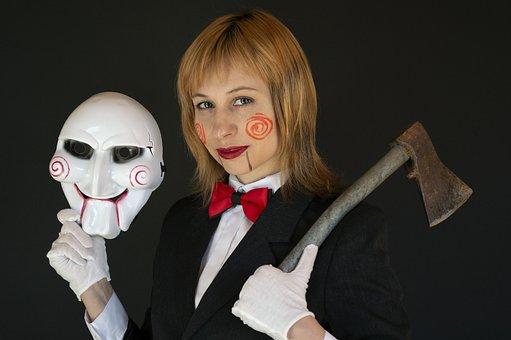 Saw, Halloween, Cosplay, Mask, Axe, Makeup