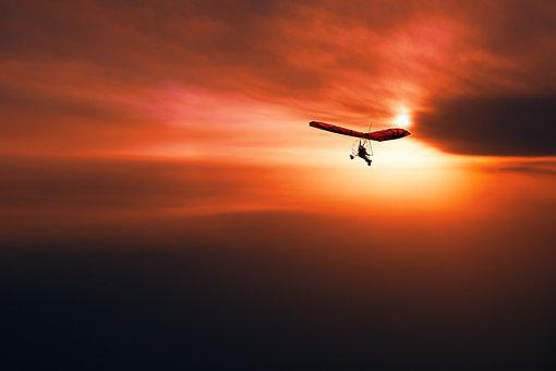 Sunset, Sky, Hang Gliding, Clouds, Flying, Fly