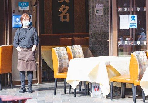 Covid Mask, Restaurant, Asian Woman, Waiting, Lady