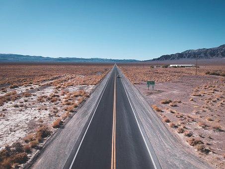 Aerial, Drone, Desert, Road, Sand, Travel, Landscape