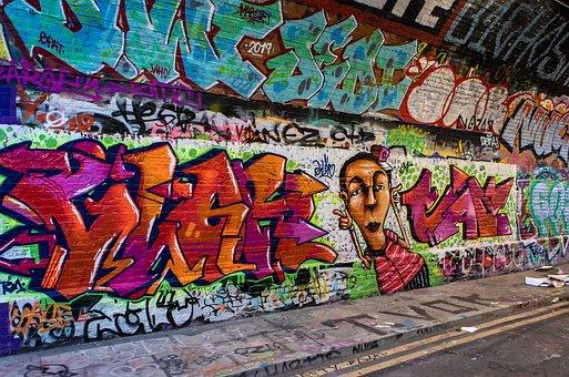 Graffiti, Urban, Tunnel, Vandalism, Paint, Wall, Grunge