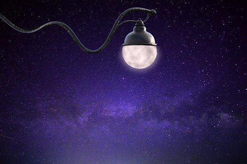 Starry Sky, Moon, Lamp, Cosmos, Astronomy, Universe