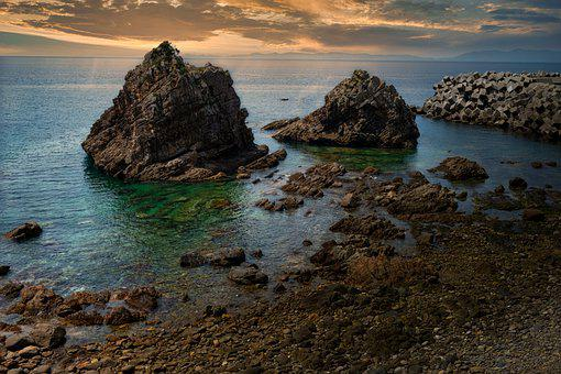 Cliff, Coast, Amakusa West Coast, Sunset, Dusk, Rock