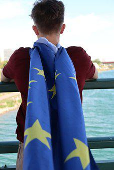 Man, Flag, European Flag, Europe, Vienna, Guy With Flag