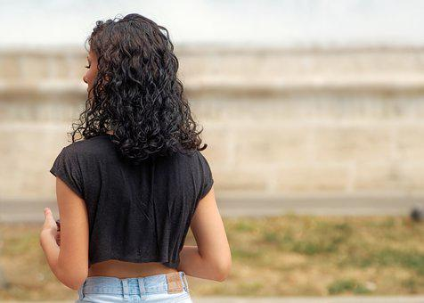 Woman, Young, Curly Hair, Person, Girl, Head, Back View