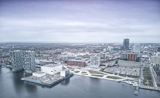 Almere, City, Lake, Panorama, Weerwater, Buildings