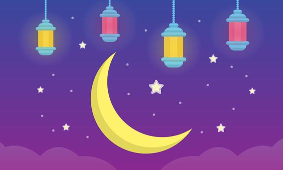 Lantern, Moon, Stars, Clouds, Sky, Ramadan, Islamic