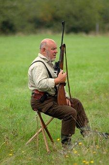 Hunter, Rifle, Lookout, Man, Watch, Sitting, Hunting