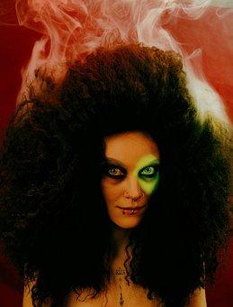 Smoke, Head, Girl, Hairdress, Red, Mood, Cinema