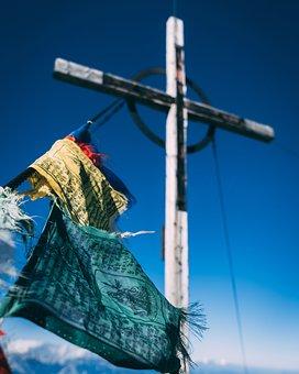 Summit, Cross, Summit Cross, Prayer Flag, Prayer Flags