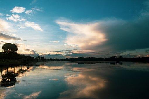 Landscape, Lake, Mirror, Blue, Sky, Water, Singapore