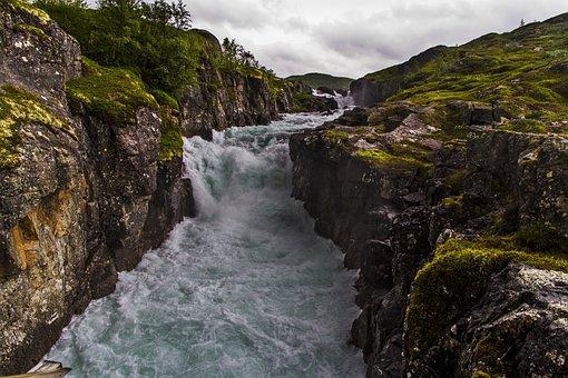The River, Waterfalls, Water, Moss, Mountain, Berg