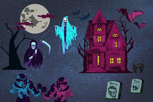 Horror, Death, Sickle, Skeleton, Monsters, Bats, Cats