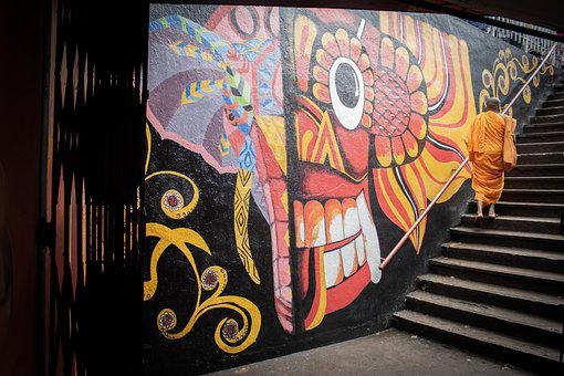Sri Lanka, City, Graffiti, Wall, Stairs, Mural