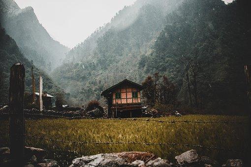 House, Mountain, India, Destination, Calm, Place, Green