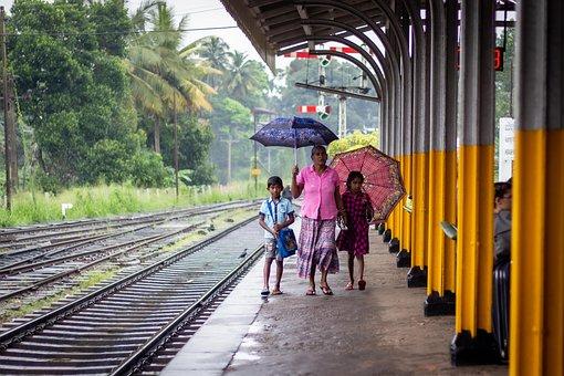 Sri Lanka, Train Station, People, Passengers, Umbrella
