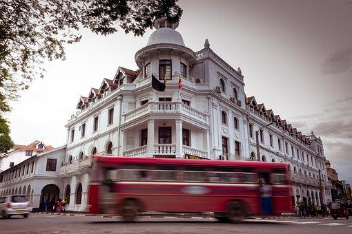 Sri Lanka, Buildings, Street, Kandy, Bus, Road, Travel
