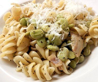 Pasta, Lima Beans, Parmesan, Bacon, Olive Oil, Spices