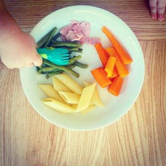 Meals, Carrot, Pasta, Hand, Baby, Plate, Green Beans