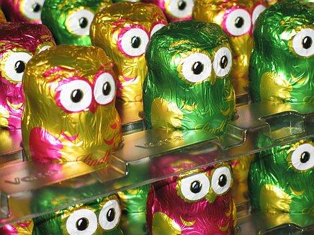 Owls, Chocolate, Lindt, Colorful, Holkörper