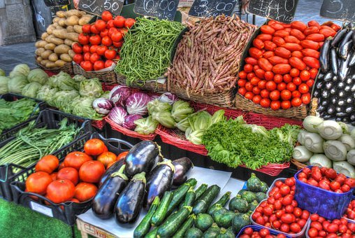 Vegetables, Market, Tomatoes, Cucumbers, Potatoes