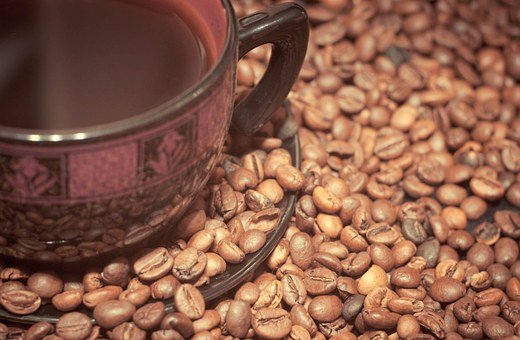 Cup Of Coffee, Coffee, Coffee Beans, Drink, Wood
