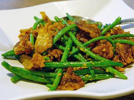 Eggplant, Long Bean, Vegetable, Stir-fried, Crispy