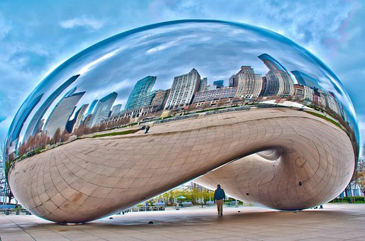 Cloud, Gate, Bean, Chicago, Skyline, Monument