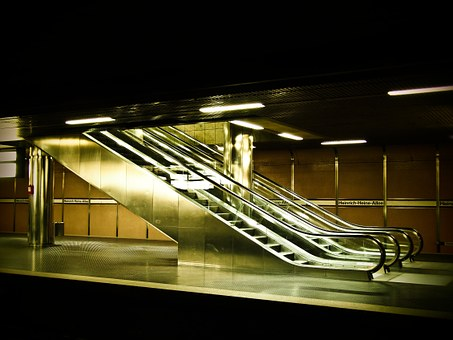 Escalator, Metro, Handrails, Movement, Underground