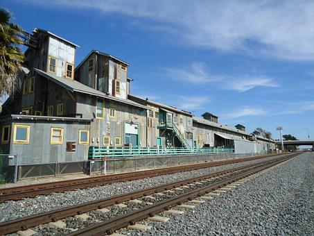 Train Tracks, Warehouse, Bean Factory, Historic
