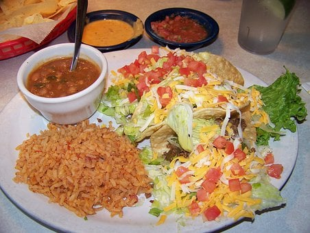 Mexican Food, Mexican Plate, Tacos, Beans, Rice, Salsa